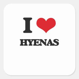 Amo Hyenas Pegatina Cuadrada