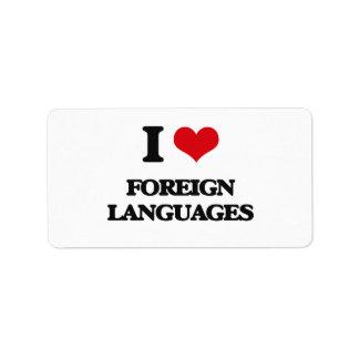 Amo idiomas extranjeros etiquetas de dirección
