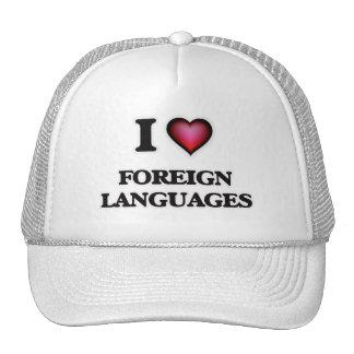 Amo idiomas extranjeros gorros bordados