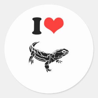 Amo iguanas pegatina redonda