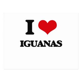 Amo iguanas tarjetas postales