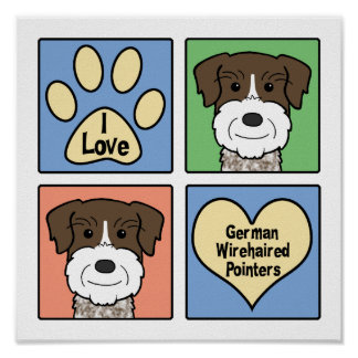 Amo indicadores Wirehaired alemanes Posters