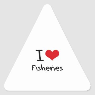 Amo industrias pesqueras pegatinas triangulo
