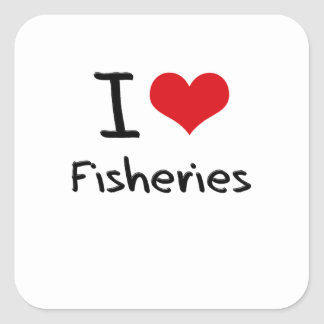 Amo industrias pesqueras colcomanias cuadradas personalizadas