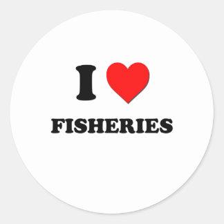 Amo industrias pesqueras pegatina redonda