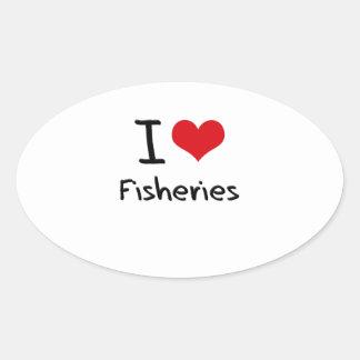 Amo industrias pesqueras calcomanías ovales