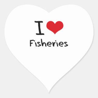 Amo industrias pesqueras calcomania corazon