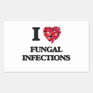 Amo infecciones por hongos pegatina rectangular