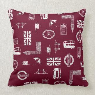 Amo Inglaterra - almohada roja con símbolos