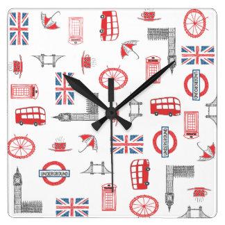 Amo Inglaterra - reloj cuadrado con inglés típico