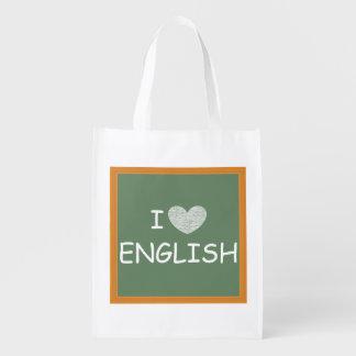 Amo inglés bolsa reutilizable
