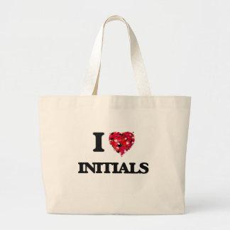 Amo iniciales bolsa tela grande