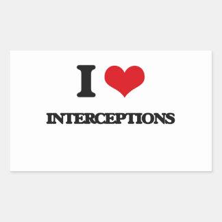 Amo interceptaciones rectangular pegatinas