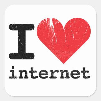 Amo Internet Pegatina Cuadrada