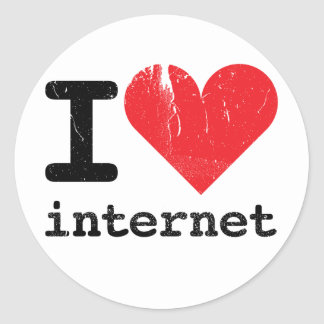 Amo Internet Pegatina Redonda