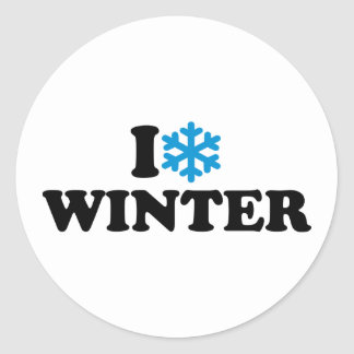 Amo invierno pegatina redonda