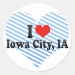 Amo Iowa City, IA Pegatinas Redondas