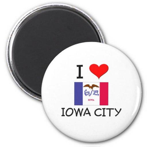 Amo IOWA CITY Iowa Imán Redondo 5 Cm