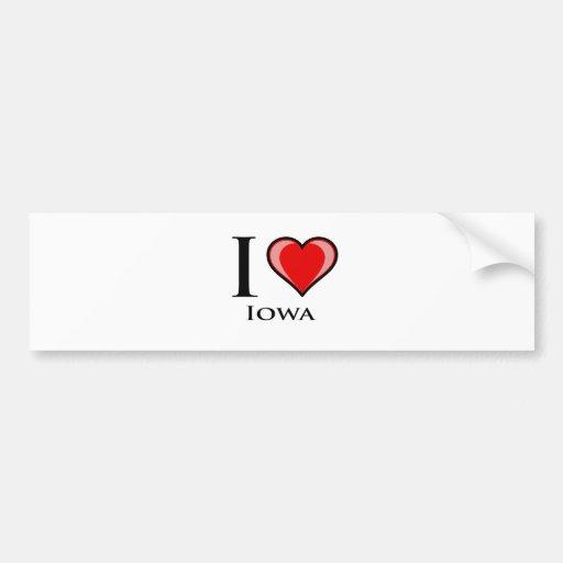 Amo Iowa Etiqueta De Parachoque