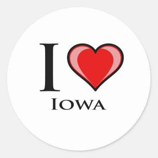 Amo Iowa Pegatina Redonda