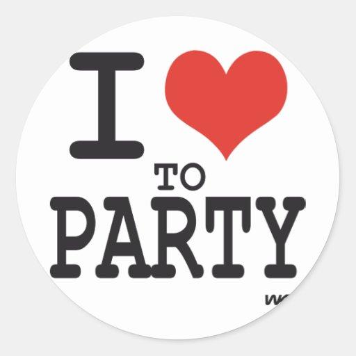 amo ir de fiesta pegatina redonda
