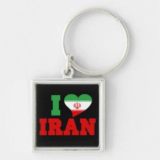 Amo Irán Llavero Cuadrado Plateado