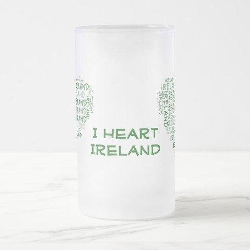 Amo Irlanda con todo mi corazón (las palabras Taza De Cristal