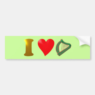 Amo Irlanda i país love de irlandés arpa harp Etiqueta De Parachoque