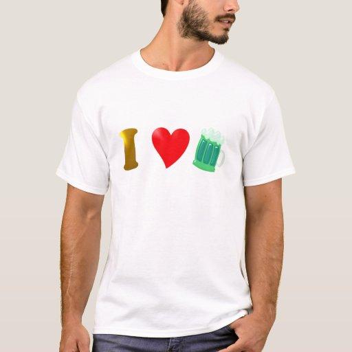Amo Irlanda i país love de irlandés cerveza verde Playera
