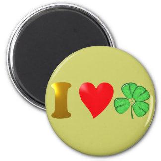 Amo Irlanda i país love de irlandés hoja de trébol Imán Redondo 5 Cm