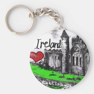 Amo Irlanda Llavero Redondo Tipo Pin