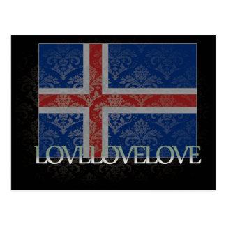 Amo Islandia fresca Tarjeta Postal