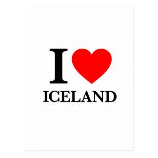 Amo Islandia Tarjetas Postales