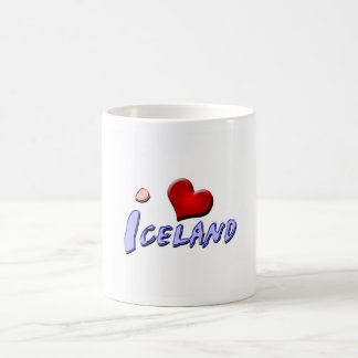 Amo Islandia Taza Básica Blanca