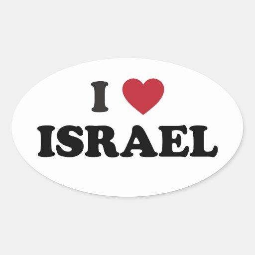 Amo Israel Pegatina Ovalada