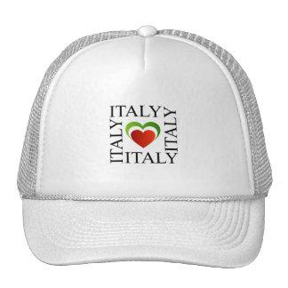 Amo Italia con colores italianos de la bandera Gorro De Camionero