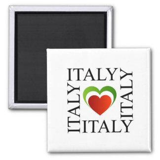 Amo Italia con colores italianos de la bandera Imán Cuadrado