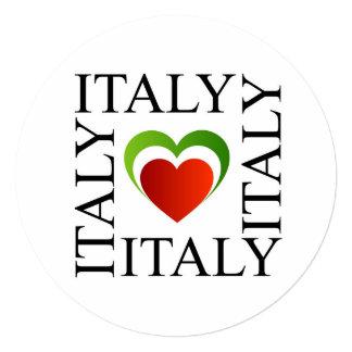 """Amo Italia con colores italianos de la bandera Invitación 5.25"""" X 5.25"""""""