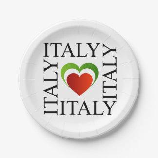 Amo Italia con colores italianos de la bandera Plato De Papel De 7 Pulgadas