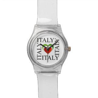 Amo Italia con colores italianos de la bandera Relojes De Mano