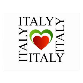 Amo Italia con colores italianos de la bandera Tarjeta Postal