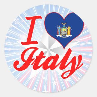 Amo Italia Nueva York Pegatina Redonda