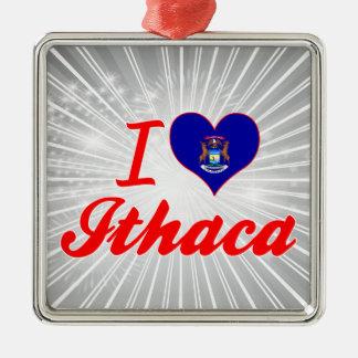 Amo Ithaca, Michigan Adorno Cuadrado Plateado