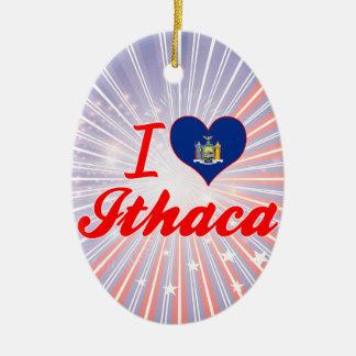 Amo Ithaca, Nueva York Adorno Ovalado De Cerámica