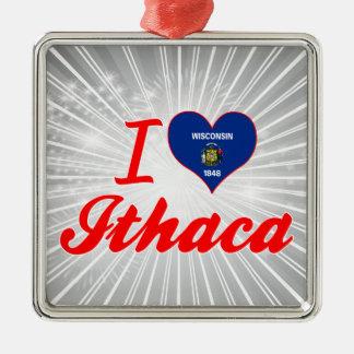 Amo Ithaca, Wisconsin Adorno Cuadrado Plateado