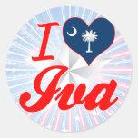 Amo Iva, Carolina del Sur Etiquetas Redondas