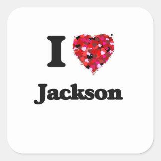 Amo Jackson Mississippi Pegatina Cuadrada