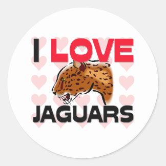 Amo jaguares pegatina redonda