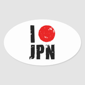 Amo Japón (amor JPN de I) Calcomanías De Ovales