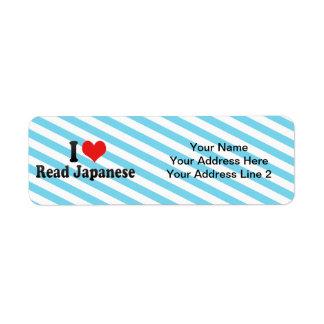 Amo japonés leído etiqueta de remite